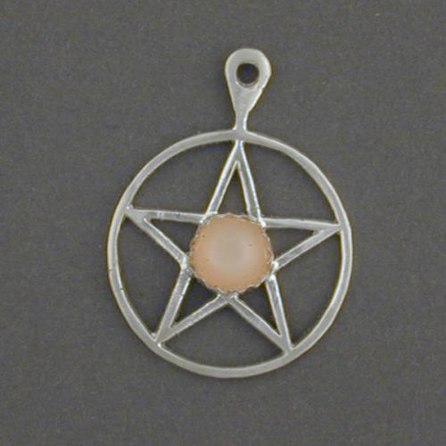 Small pentagram with a peach moonstone.